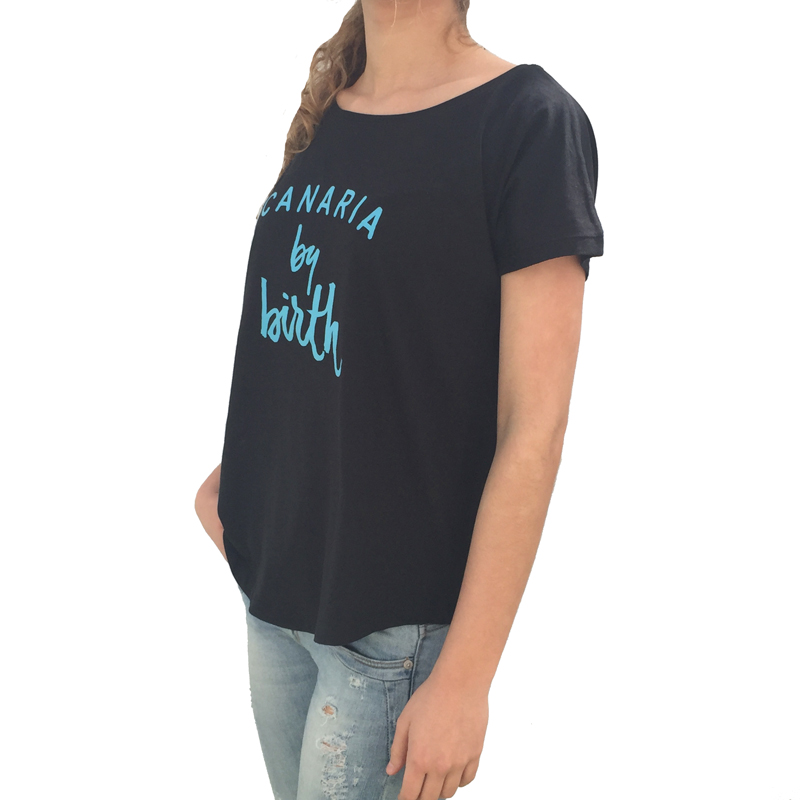 Canaria by birth Turquesa Lateral Camiseta Mujer