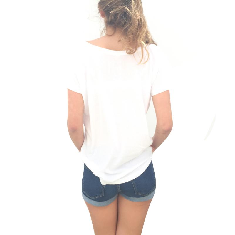 Canaria by birth white tshirt woman - back model