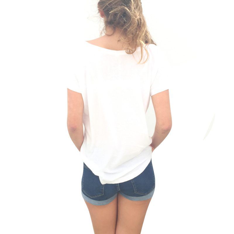 Canaria by birth white tshirt woman - back model